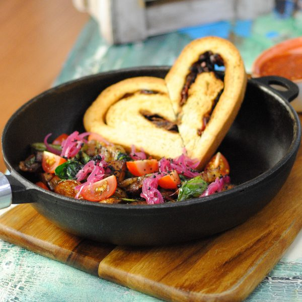 Теплый крафт-салат «Сковородка»