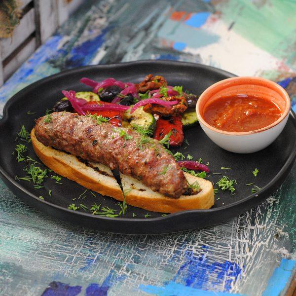 Люля-кебаб из баранины c овощами гриль